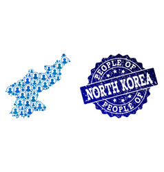 People composition of mosaic map of north korea vector