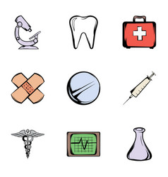 pharmacy icons set cartoon style vector image vector image