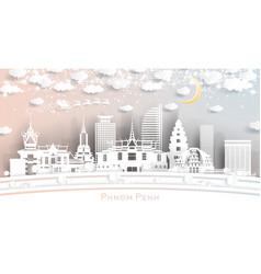 phnom penh cambodia city skyline in paper cut vector image