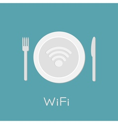 Plate with Wireless Network wifi icon inside Knife vector image