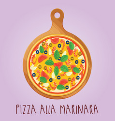 Real pizza alla marinara on wooden board vector