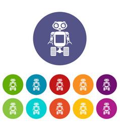 Retro robot icons set flat vector