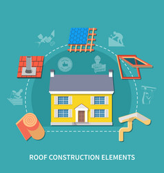 Roofer flat composition vector