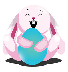 rosy easter bunny hugging blue egg web on white vector image