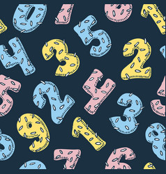 seamless pattern with numbers in donut style vector image