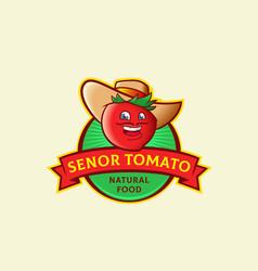 Senor tomato abstract sign symbol or logo vector
