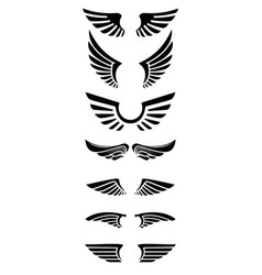 Set of wings icons design elements for logo label vector