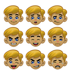 set white boy head with various eyes and mouths vector image