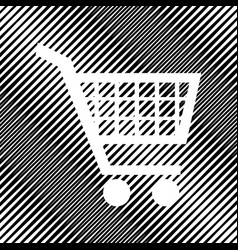 Shopping cart sign icon hole in moire vector