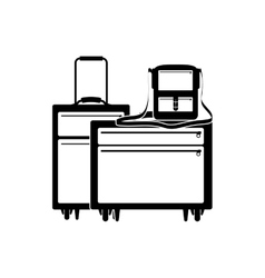 silhouette of baggage and briefcase vector image