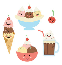 silly ice cream sundaes with faces vector image