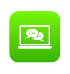 speech bubbles on laptop screen icon digital green vector image