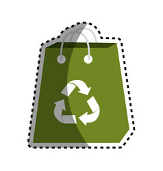 Sticker green bag with reduce reuse and recycle vector