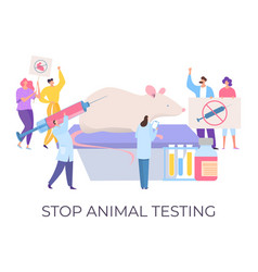 Stop animal testing demonstration against cruelty vector