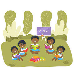 Students read abc books african-american children vector