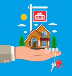 suburban family house set in hand vector image vector image