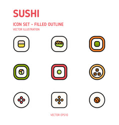 sushi icons vector image
