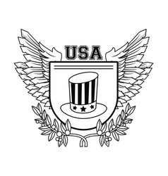 United states of america emblem in black and white vector