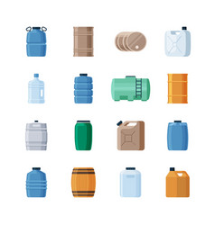 various containers liquid set wooden barrels for vector image