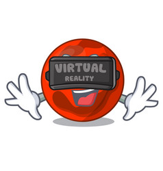 Virtual reality mars planet mascot cartoon vector