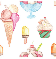 watercolor ice cream pattern colorful summer vector image