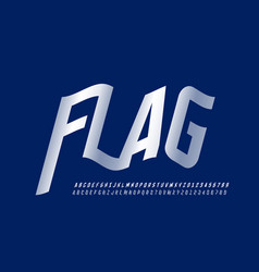 waving flag style font vector image
