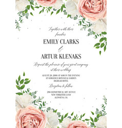 Wedding floral invite invtation save the date card vector