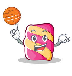 With basketball marshmallow character cartoon vector