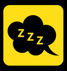 Yellow black sign - zzz speech bubble icon vector