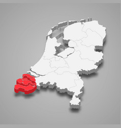 Zeeland province location within netherlands 3d vector