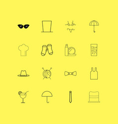 Beauty dress and clothes linear icon set simple vector