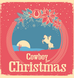 cowboy retro christmas card with cowboy lasso and vector image vector image