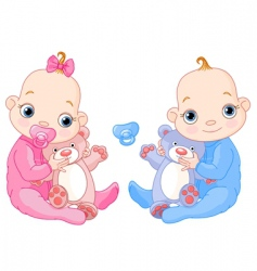 cute twins with toys vector image vector image