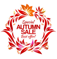 hand drawing autumn floral label with sales vector image vector image