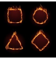 Hot fire flame frame set vector image vector image