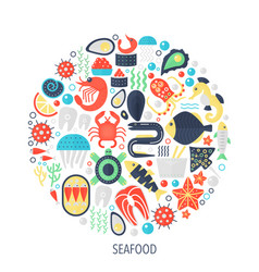 seafood food flat infographics icons in circle - vector image vector image