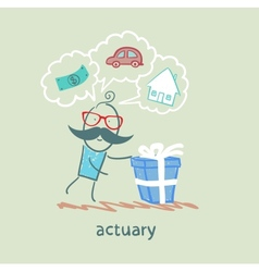 actuary with a gift in which the cars houses money vector image vector image