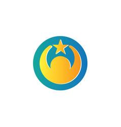 Circle human star logo vector