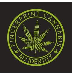 Fingerprint cannabis-marijuana vector image vector image