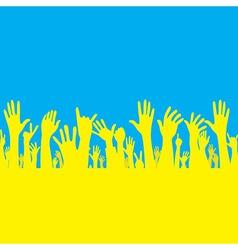 hand with Ukraine flag vector image