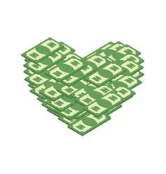 money heart i love cash i like dollars vector image vector image