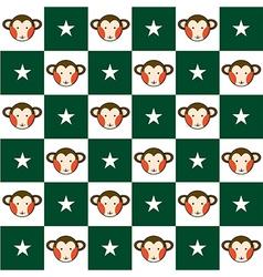 Monkey star green white chess board background vector