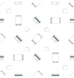 Seamless pattern with phones and cards vector image vector image