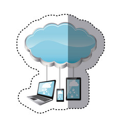 sticker cloud storage connected with tech device vector image