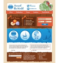 template for travel website vector image vector image