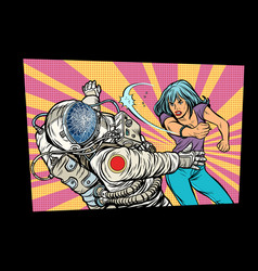 woman vs astronaut fight vector image vector image