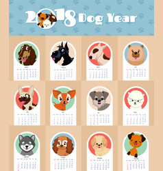 2018 new year calendar with cute and funny puppy vector