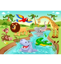 African animals in the jungle vector image
