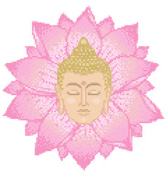 buddha head and lotus cross stitch vector image vector image