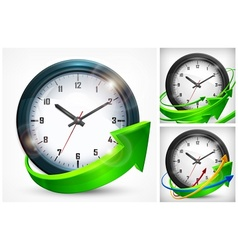Clock with arrows on white vector image